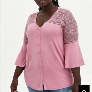 Nwt Torrid size 3 pink soft bell sleeve Top